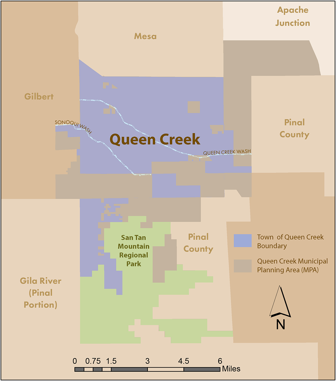 Map showing areas of Queen Creek