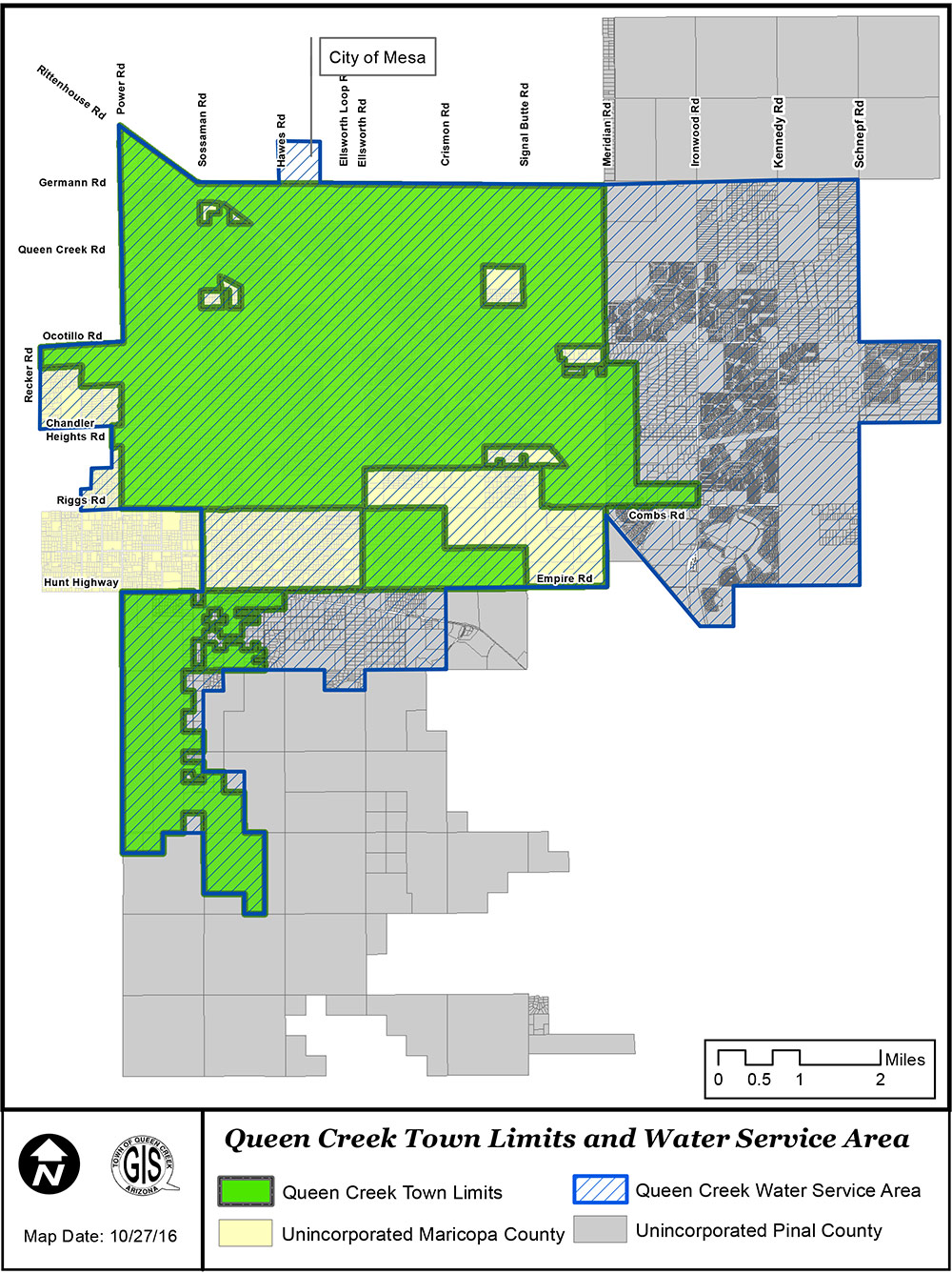 Map showing Water Service areas in Queen Creek